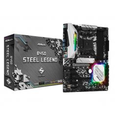 ASRock B450M Steel Legend M-ATX Motherboard ( AMD AM4 Socket, For Ryzen Series CPU, 4 Ram Slots, Max 64 GB Memory )