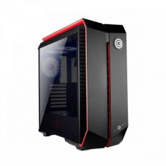 CIRCLE INFERNOVA Z GAMING (ATX) MID TOWER CABINET WITH TEMPERED GLASS SIDE PANEL AND RGB FAN CONTROLLER (BLACK-RED)