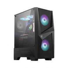 MSI MAG FORGE 100R (ATX) MID TOWER CABINET WITH TEMPERED GLASS SIDE PANEL AND RGB CONTROLLER (BLACK) MAG-FORGE-100R