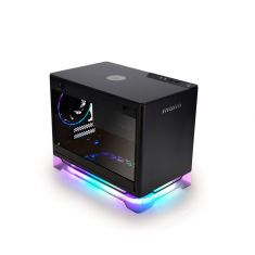 InWin A1 Plus Black Mini-ITX Tower with Integrated ARGB Lighting - 650W Gold Power Supply - Qi Wireless Phone Charger - Computer Chassis Case